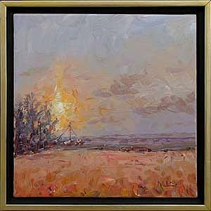 Acrylics Painting - Morning Sun Through Snow Flurries En Plein Air by Karl Eric Leitzel