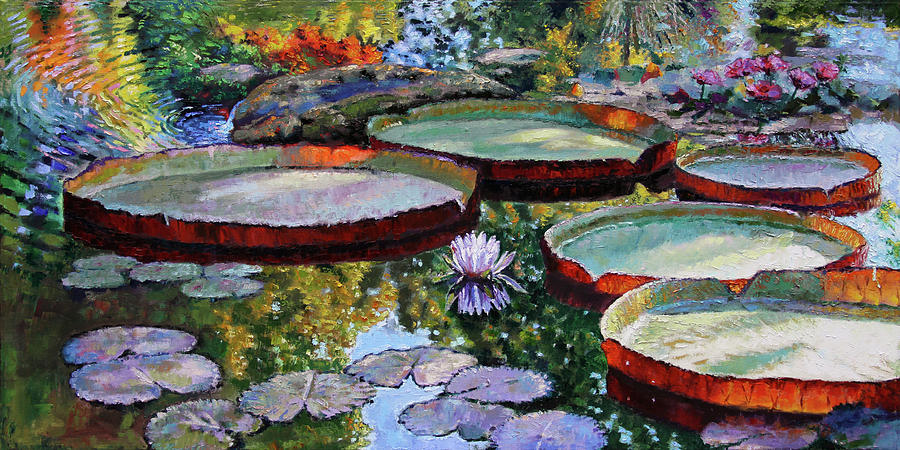 Water Lilies Painting - Morning Sunlight on Fall Lily Pond by John Lautermilch