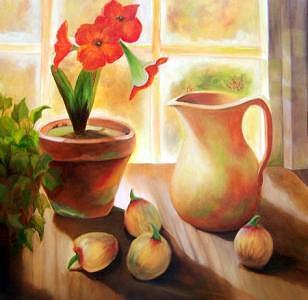 Amarylis Flowers Painting - Morning Sunshine by Susan Dehlinger