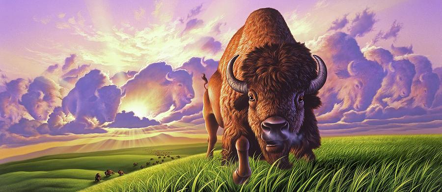 Buffalo Painting - Morning Thunder by Jerry LoFaro
