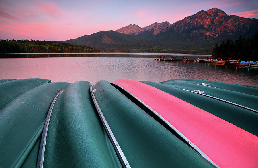 Benches Digital Art - Morning View Of Pyramid Lake In Jasper National Park by Mark Duffy
