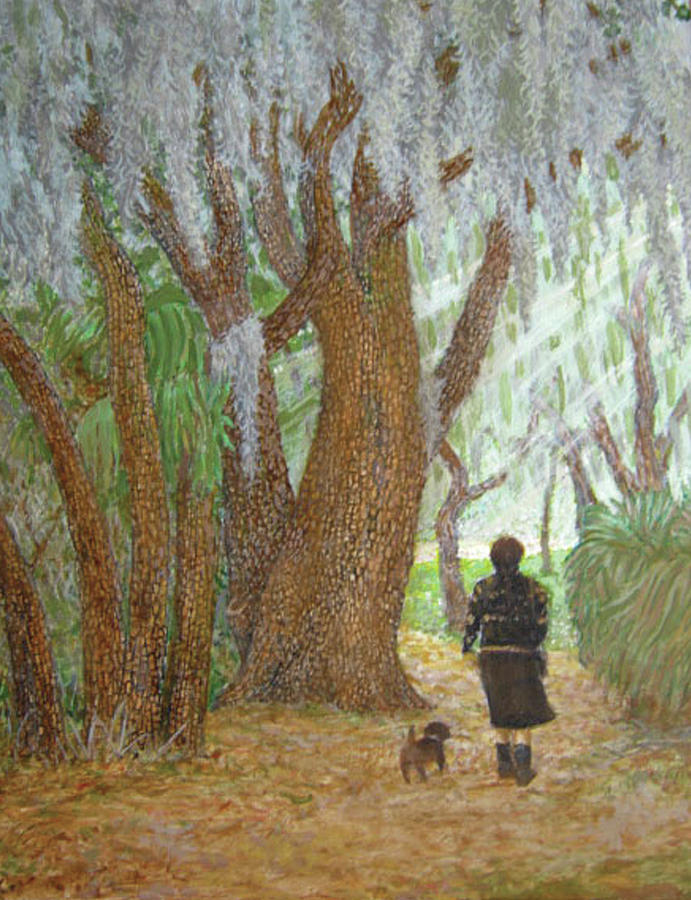 Woods Painting - Morning Walk by Jim Soldo