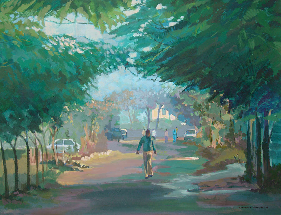 Landscape Painting - Morning Walk by Sangeeta Takalkar
