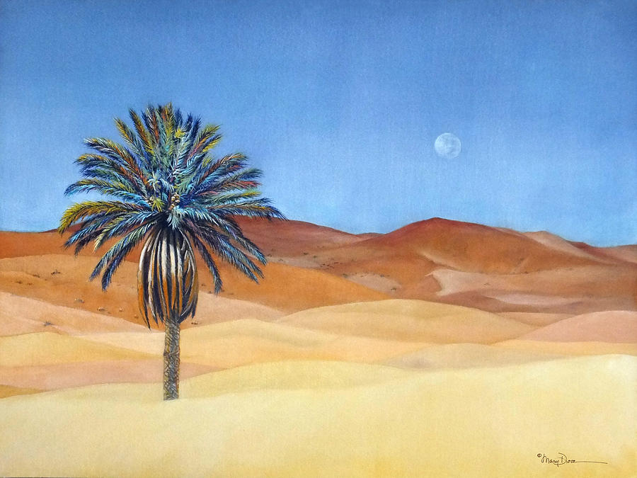 Moroccan Desert Palm Illusion Painting By Mary Dove