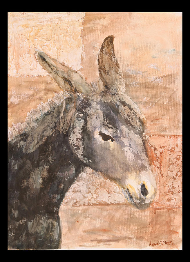 Donkey Painting - Moroccan Donkey by Laura Vazquez