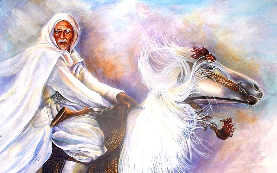 Portrait Painting - Moroccan Man Riding Arabian Stallion  by Patricia Rachidi