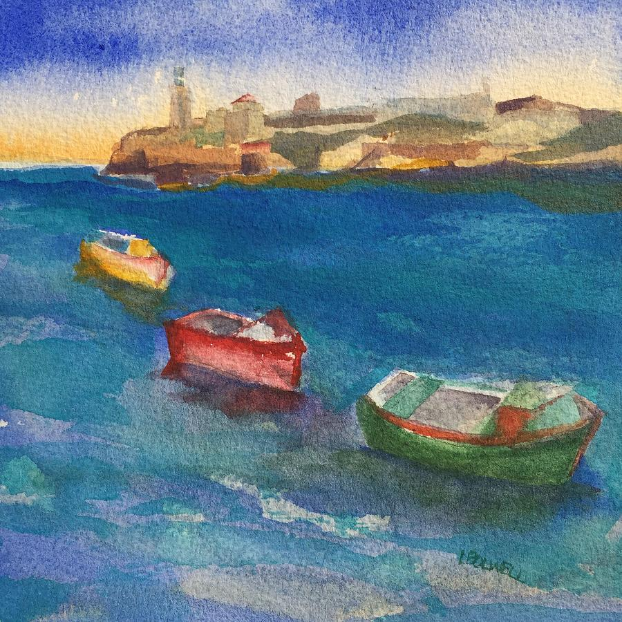 Morro Castle Painting - Morro Castle And Three Boats by Lynne Bolwell