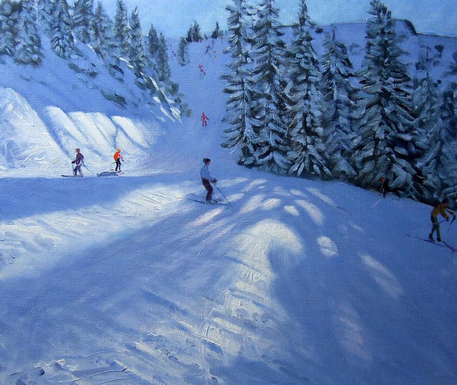 Downhill Painting - Morzine Ski Run by Andrew Macara