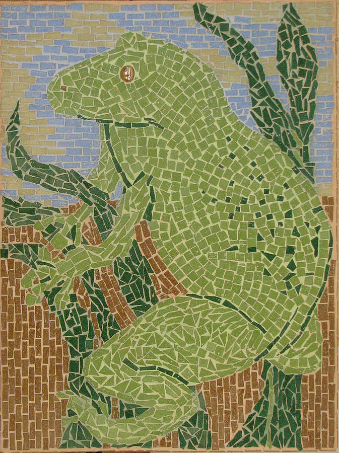 Frog Glass Art - Mosaic - Tree Frog by Libby  Cagle