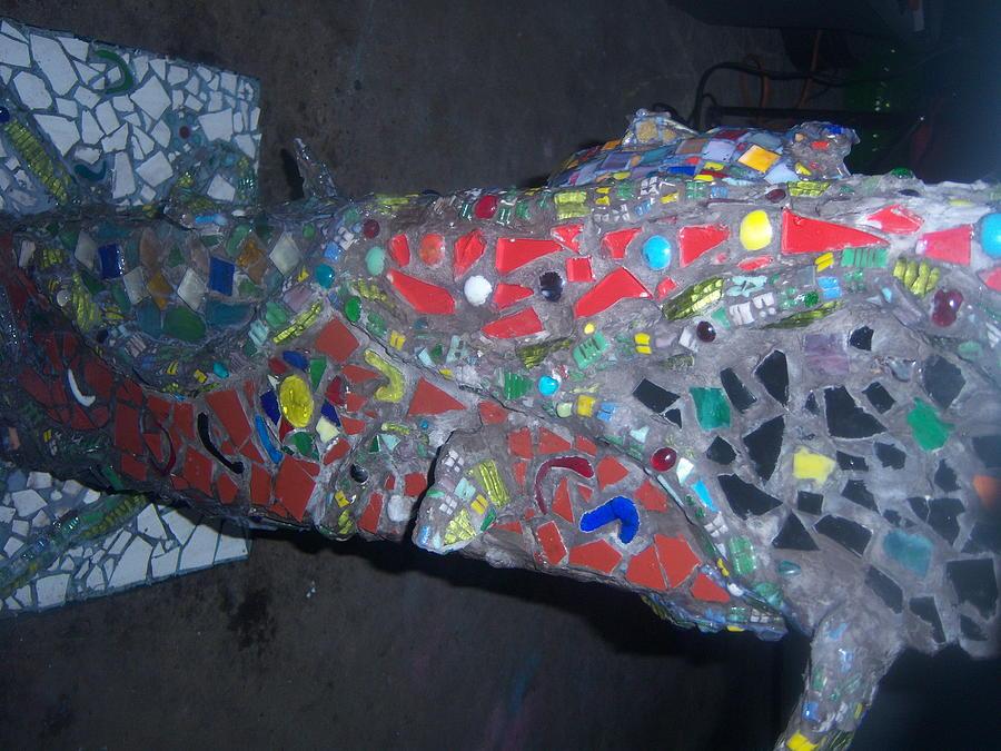 Mosaic Birbath Sculpture by Elizabeth Okon