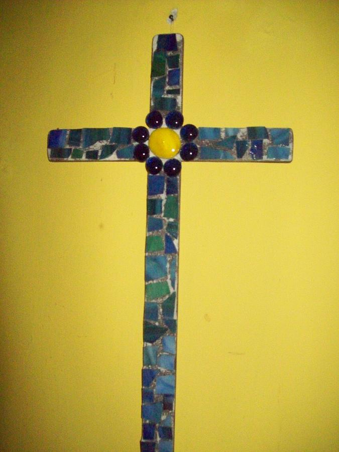 Religious Mixed Media - Mosaic Cross And Glass Beads by Arlene Barrios