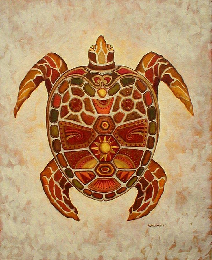 Mosaic Painting - Mosaic Sea Turtle by Anita Carden