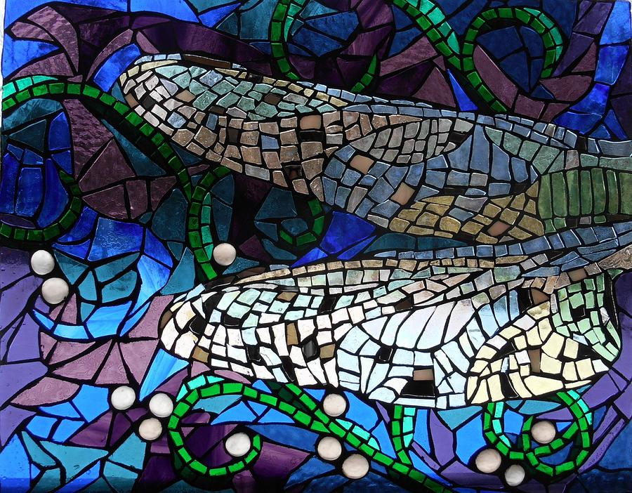 Mosaic Stained Glass Dragonfly Wings Glass Art By