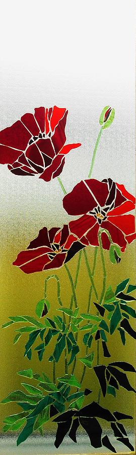 Mosaic Stained Glass - Poppies by Catherine Van Der Woerd
