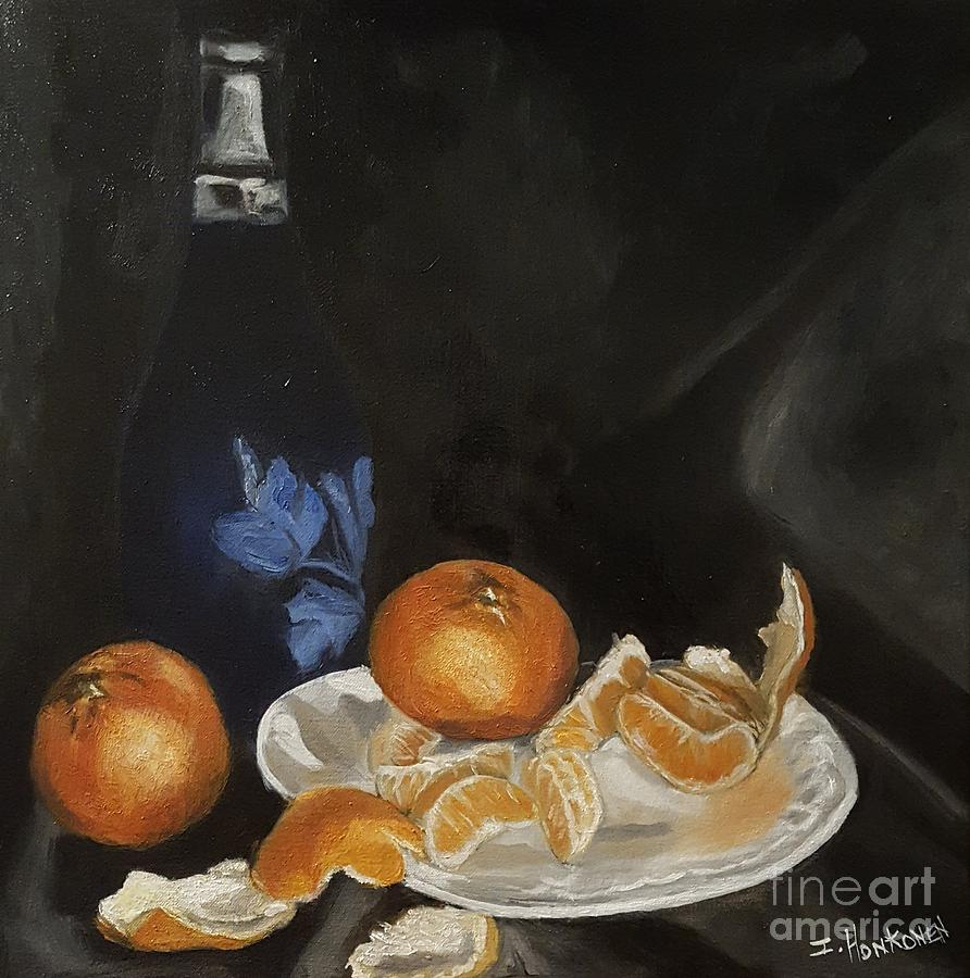 Still Life Painting - Moscato And Tangerines by Isabel Honkonen
