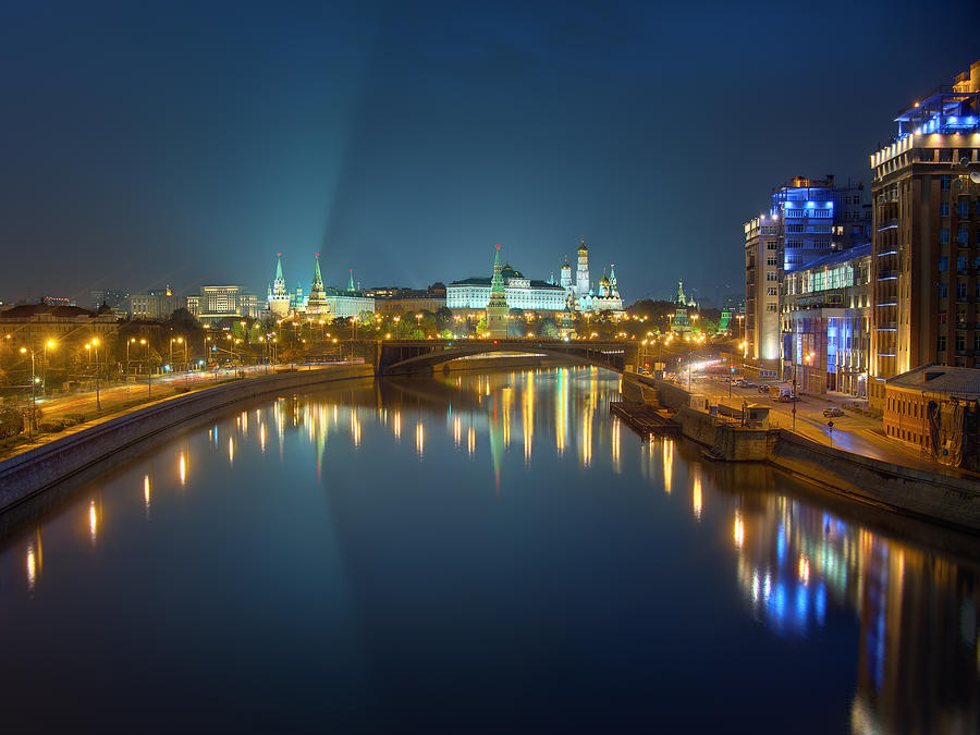 Kremlin Photograph - Moscow Kremlin At Night by Alexey Kljatov
