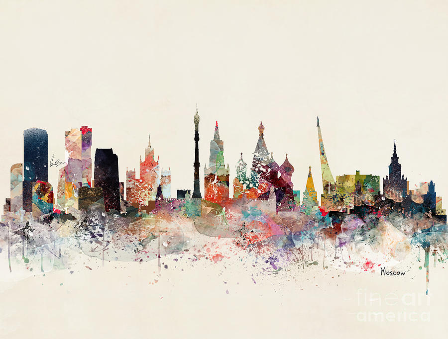 Moscow Painting - Moscow Russia Skyline by Bri Buckley
