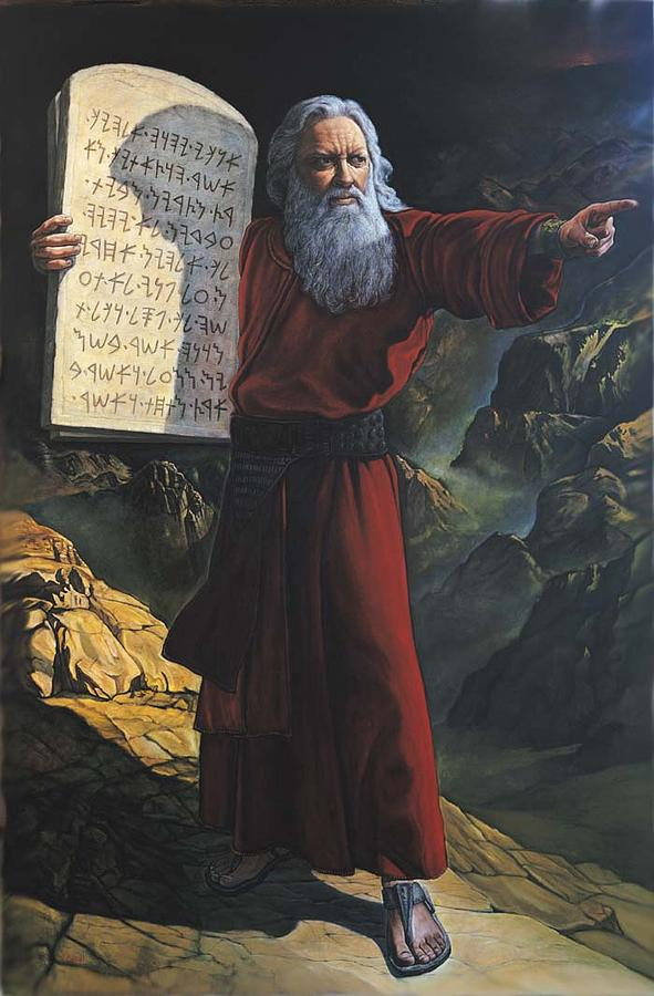 Moses And The Ten Commandments Painting by Giora Eshkol Moses Painting