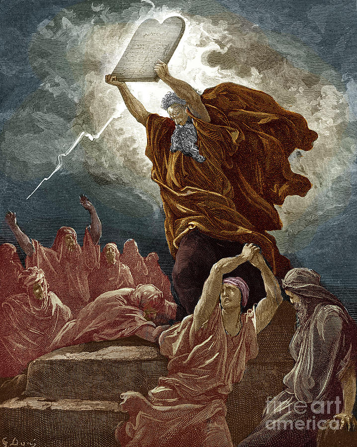 Moses breaks the tablets of the law by Gustave Dore Drawing by Gustave Dore