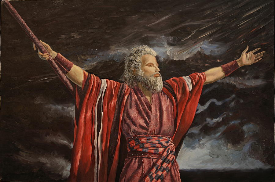 Moses Painting - Moses Parting The Red Sea by Rosencruz  Sumera