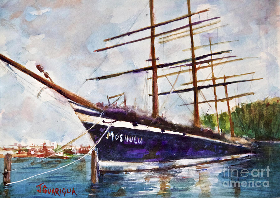 Philadelphia Pa Drawing - Moshulu by Joyce A Guariglia