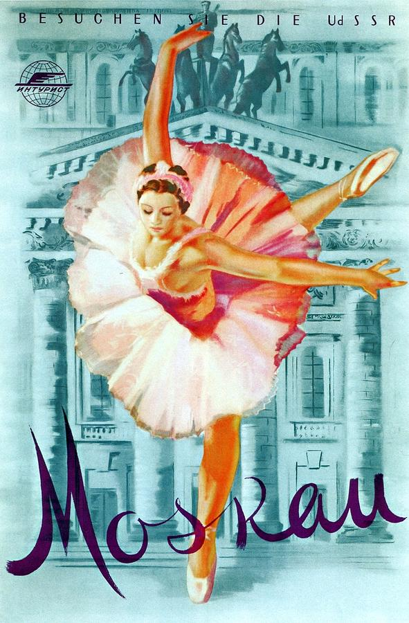 Moskau Mixed Media - Moskau - Ballerina in pink Dancing - Retro travel Poster - Vintage Poster by Studio Grafiikka