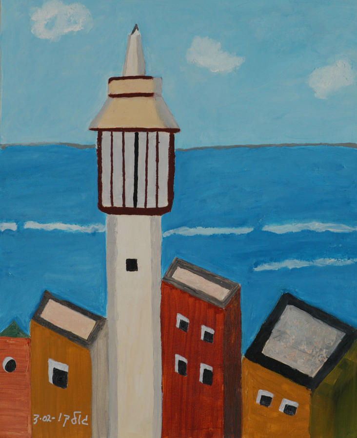 Mosque Seen From Jaffa Restaurant   Painting by Harris Gulko