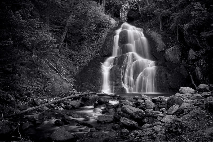 Vermont Photograph - Moss Glen Falls - Monochrome by Stephen Stookey