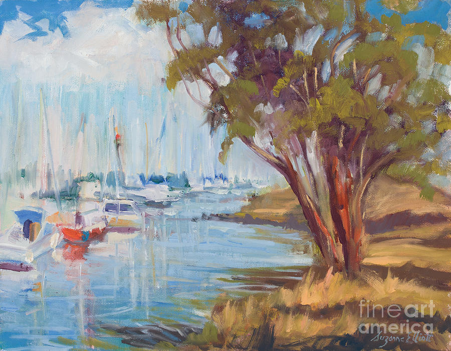 Boats In Harbor Painting - Moss Landing Harbor by Suzanne Elliott