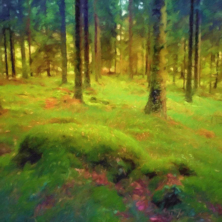 Mossy Forest Painting - Mossy Woods by Lutz Baar