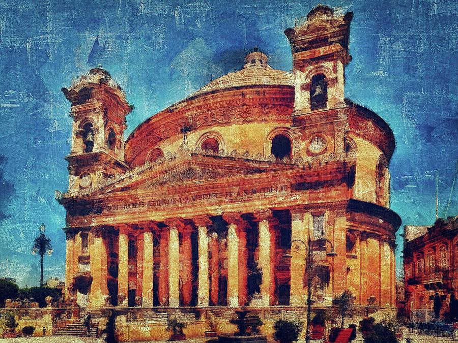 Mosta Digital Art - Mosta Church by Leigh Kemp