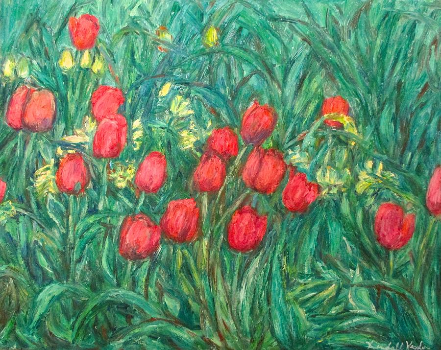 Nature Painting - Mostly Tulips by Kendall Kessler