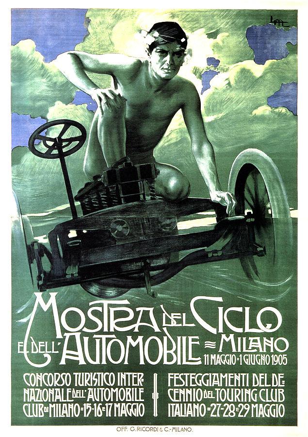 Mostra Del Ciclo E Dell Automobile - Milan, Italy - Vintage Advertising Poster Mixed Media