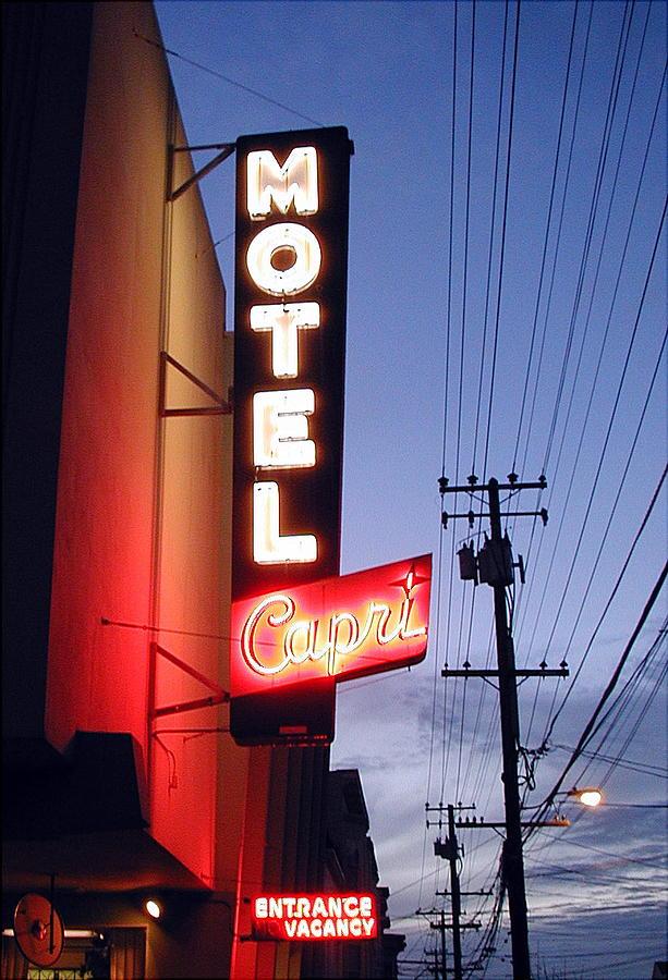 Neon Sign Photograph - Motel Capri by Mark Stevenson