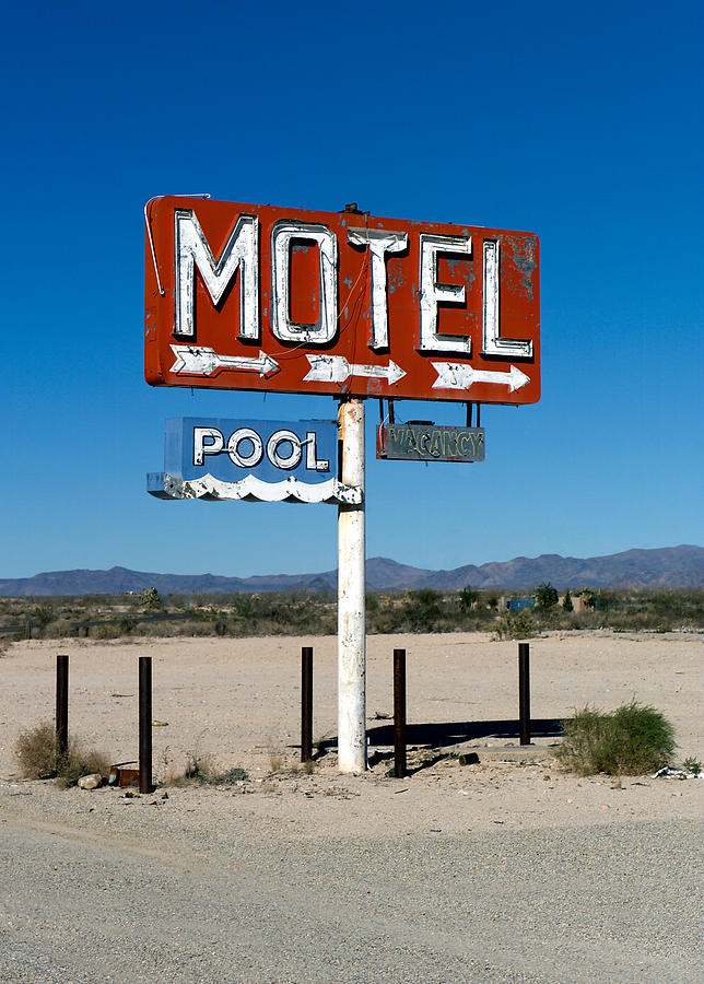 Route 66 Photograph - Motel Sign On I-40 And Old Route 66 by Scott Sawyer