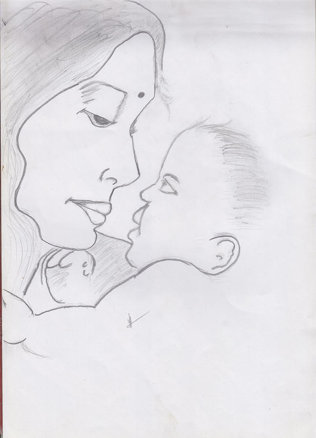 Mother And Baby Drawing By Arijarasa Ajeevan
