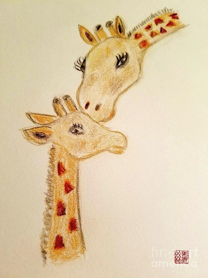Mother and Baby Giraffe by Margaret Welsh Willowsilk