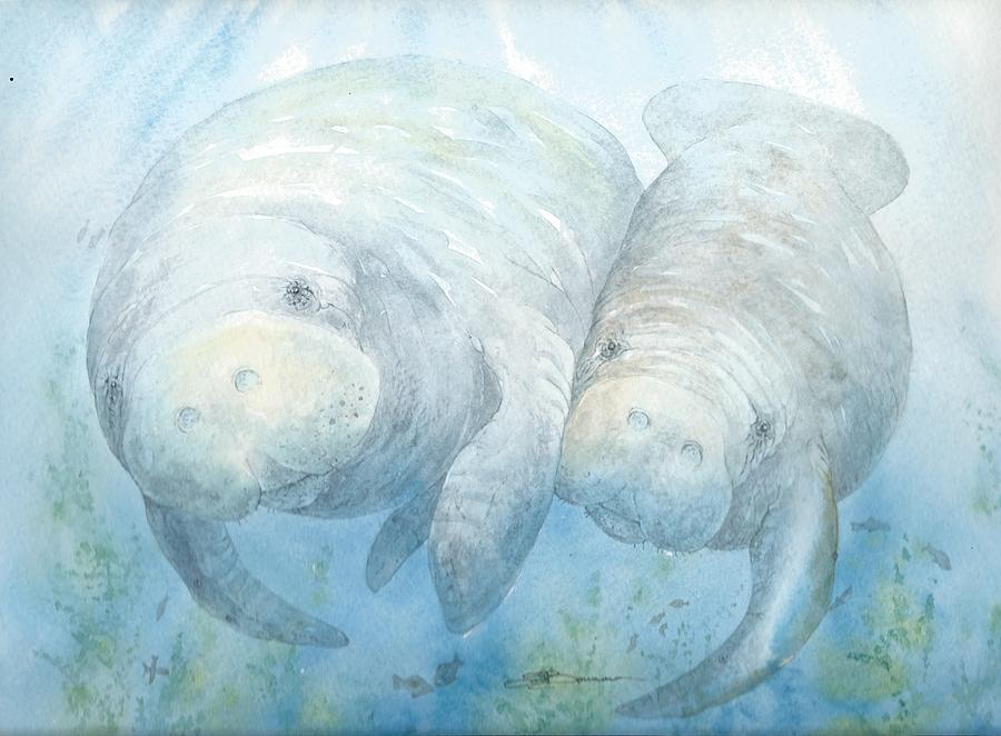 Seacow Painting - Mother And Calf by Sharon Bowman