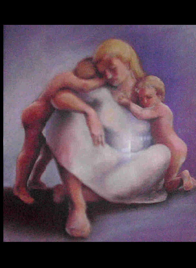 Figurative Painting - Mother And Chhildren by Janet Checker