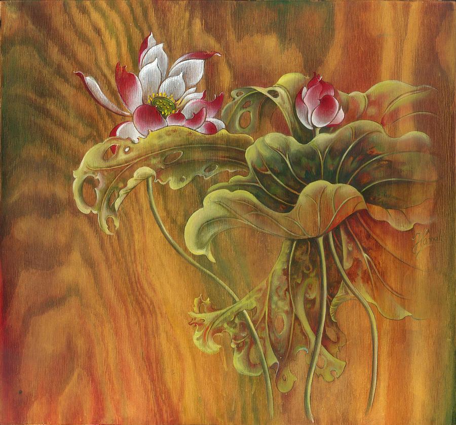 Lotus Painting - Mother and Child  by Anna Ewa Miarczynska