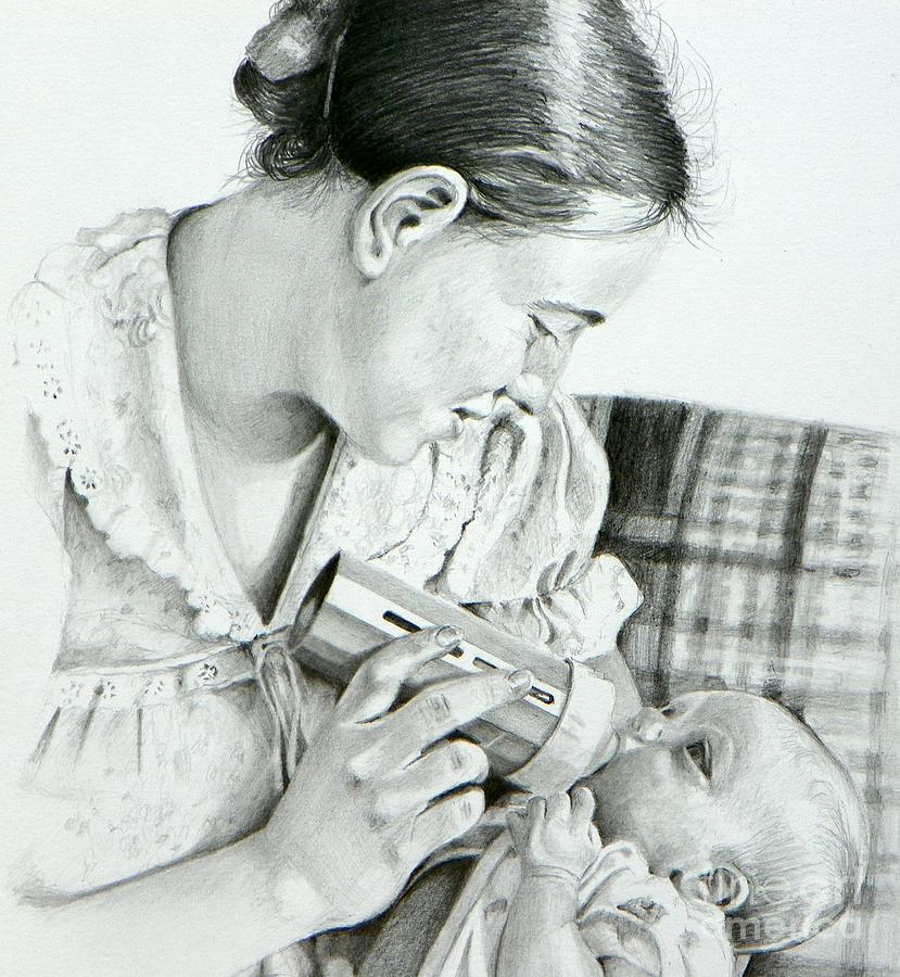 Pencil Drawing Drawing - Mother And Child by David Ackerson