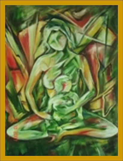 Mother And Child Painting by Dr Ruchi Vidyarthi