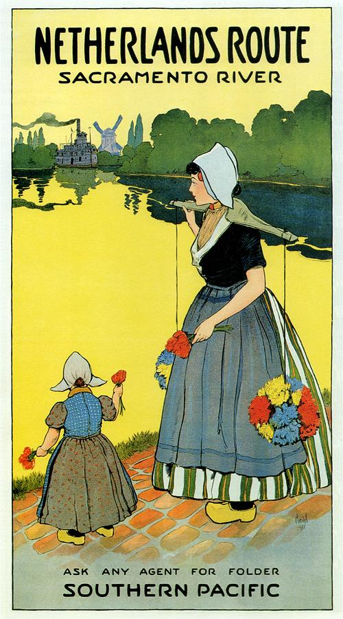 Mother And Child Holding Flowers In The Netherlands Countryside - Sacramento River - Vintage Poster Painting