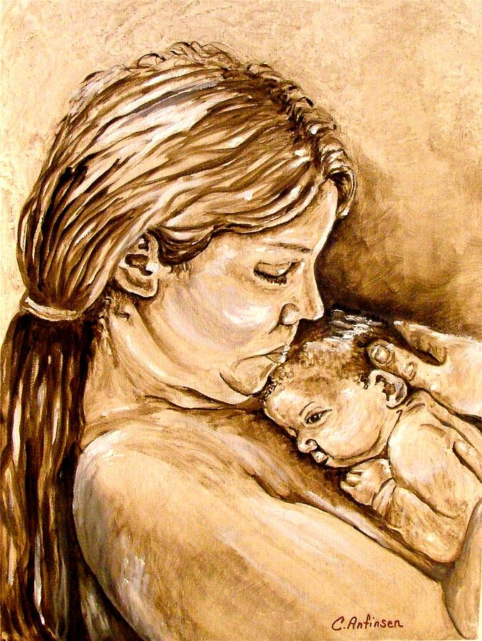 Mother Painting - Mother and Child III by Carol Allen Anfinsen