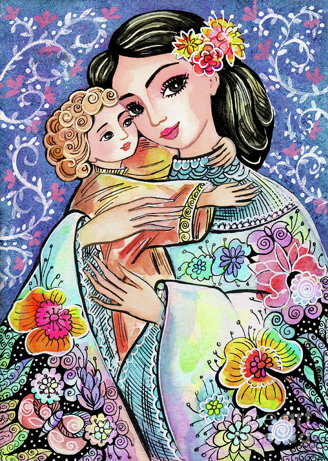 Woman and Child in Flowers by Eva Campbell