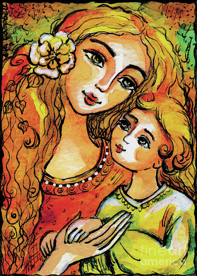 Mother and Child in Yellow by Eva Campbell