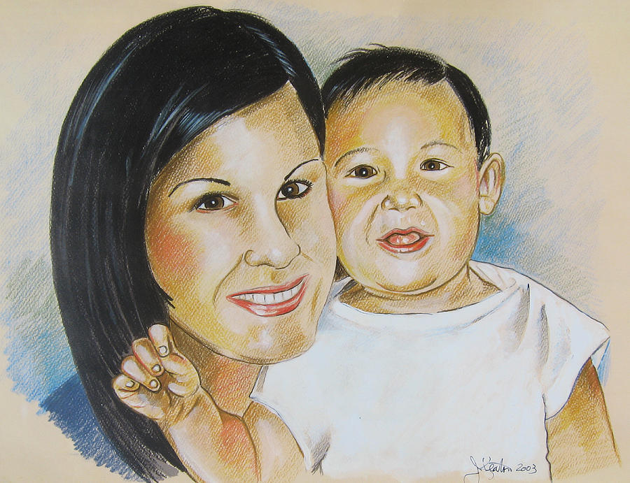Portraits Drawing - Mother And Child by John Keaton