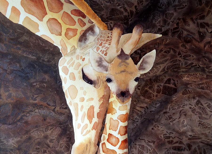 Giraffe Painting - Mother And Child by Laurel Best