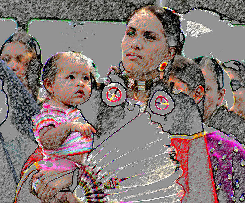 Native Americans Photograph - Mother And Child by Laurie Prentice