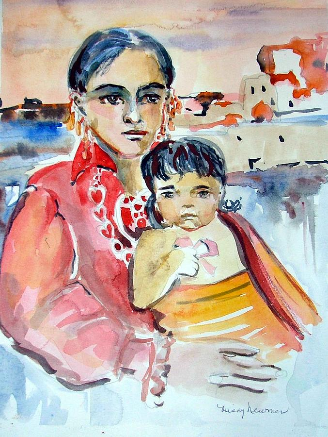 Indian Painting - Mother And Child by Mindy Newman